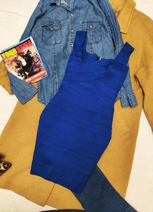New look платье резинка синее электрик голубое по фигуре карандаш футляр
