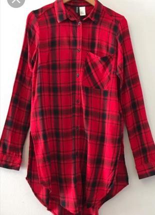 Красная рубашка в клетку от divided (h&m)