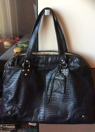Кожаная сумка zara натуральная кожа