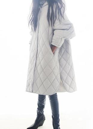 Стёганое пальто оверсайз zara