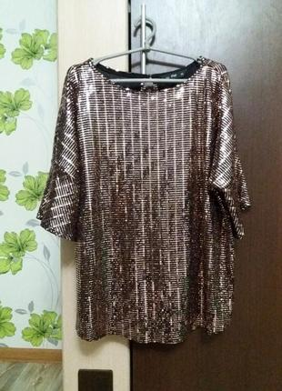 Яркая блестящая блуза кофта топ в пайетках