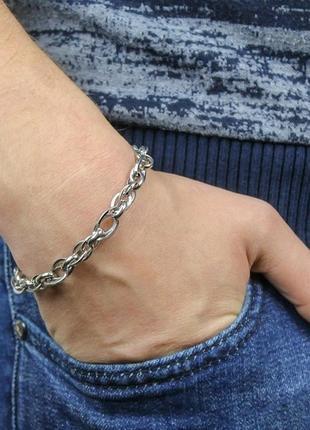 Скидка!!! серебряный браслет, крупные звенья