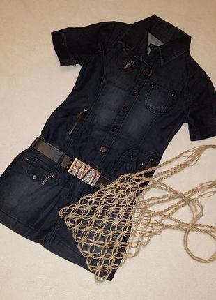 Модное платье из коттона revolt jeans на девушку с ремнем и авоськой в подарок