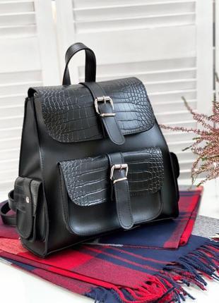 Шикарний чорний рюкзачок в зміїний принт