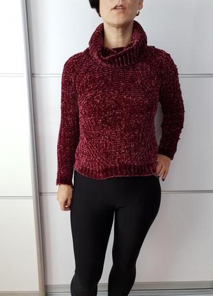 Идеальный бордовый плюшевый/велюровый свитер