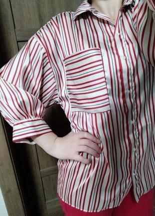 Удлиненная блуза, рубашка в полоску