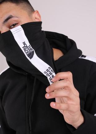Бафф the north face  чёрный с лампасом женский / мужской / шарф / маска для лица
