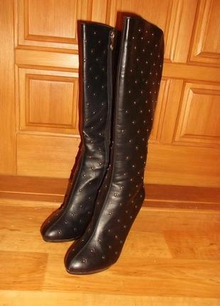 Сапоги черные с заклепками на каблуке эко кожа р. 39 - super me