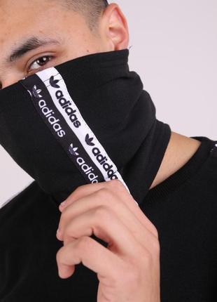 Бафф adidas duo чёрный с лампасом женский / мужской / шарф / маска для лица