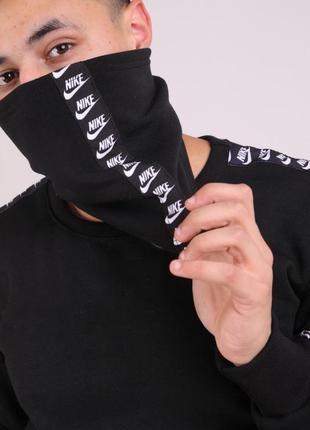 Бафф nike чёрный с лампасом женский / мужской / шарф / маска для лица