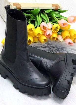 Ультра модные высокие черные женские деми ботинки на резинке