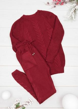 Теплый вазянный бордовый костюм.