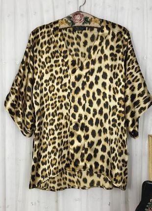 Шелковая свободная блуза топ в анималистический леопардовый принт amrita singh шелк винтаж