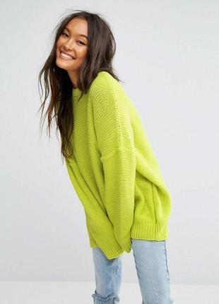 Неоновый мягенький свитер, с мохером