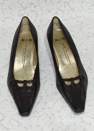 Шикарные кожаные изящные туфельки