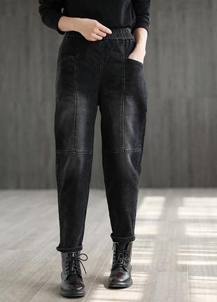 Утепленные джинсы джоггеры
