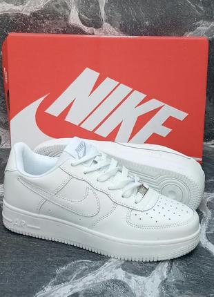 Nike air force былые модные кроссовки, кожаные,осенние