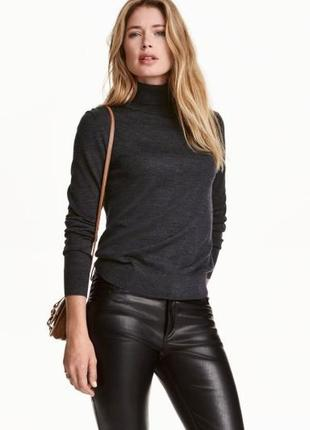 Серый шерстяной свитер кофта гольф под горло h&m шерсть мерино