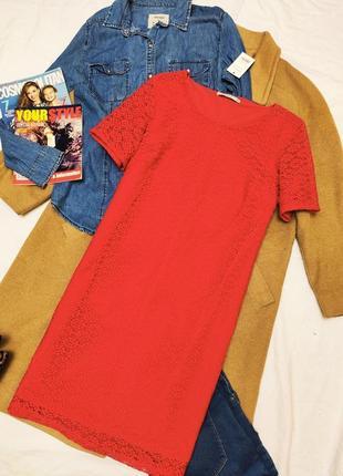George новое платье красное прямое кружево на подкладке