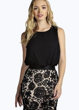 Boohoo платье чёрное белое миди шифон с кружевом на пуговицах новое