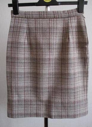 Теплая юбка-карандаш в клетку