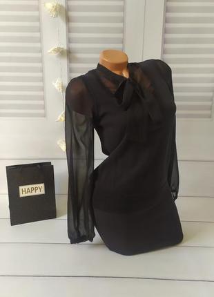 Блуза блузка рубашка с жилеткой чёрная, s/m