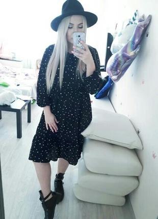 Платье миди шифоновое черное в мелкий принт чорна шифонова сукня10 фото