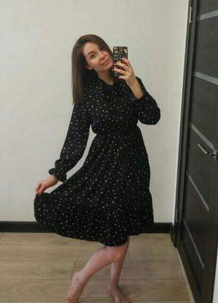 Платье миди шифоновое черное в мелкий принт чорна шифонова сукня8 фото