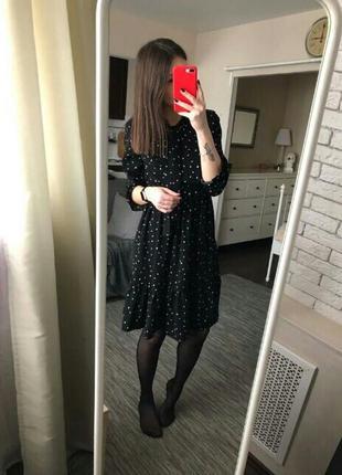 Платье миди шифоновое черное в мелкий принт чорна шифонова сукня9 фото