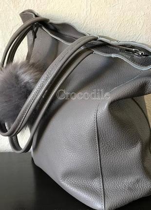 Сумка-мешок 29451 натуральная кожа /италия/ серая