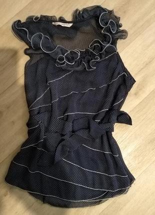 Блуза тёмно-синяя в горошек