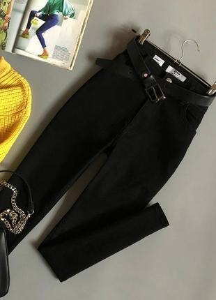 Идеальные базовые узкие джинсы с высокой посадкой bershka (джинс как у мом)