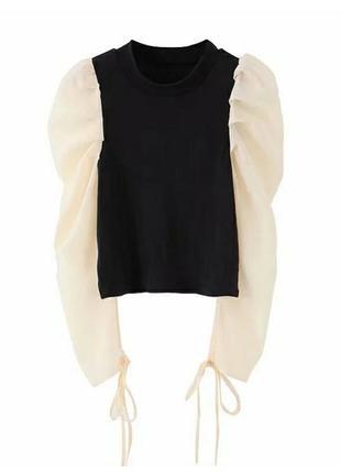 Блуза блузка кофта с пышными рукавами плечами фонариками черная беж праздничная