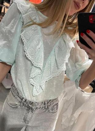 Новая мятная хлопковая блуза