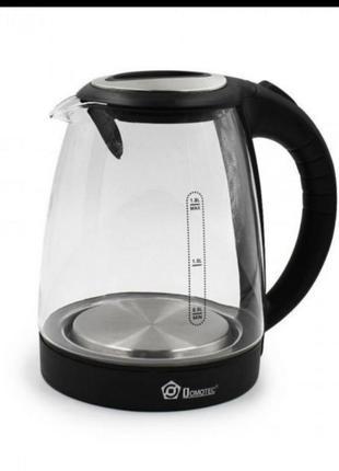 Чайник электрочайник стеклянный domotec