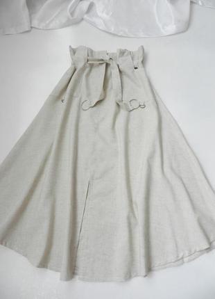 Льняная юбка миди с карманами