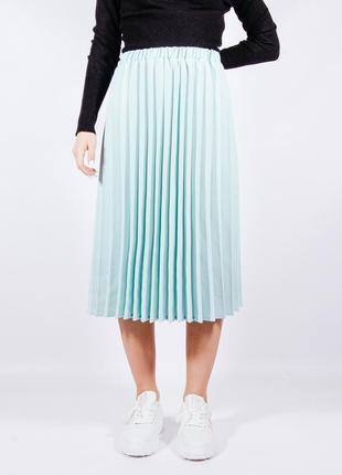 Плиссированная юирюзовая миди юбка, спідниця міді