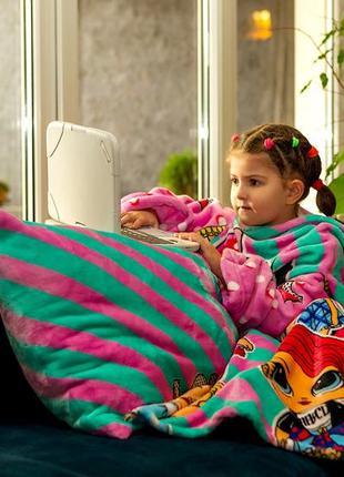Плед с рукавами для девочки теплый яркий разноцветный рисунок  принт куклы lol лол