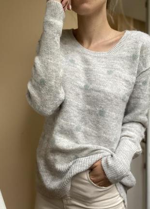 Джемпер вязаный свитер шерстяной свободного кроя