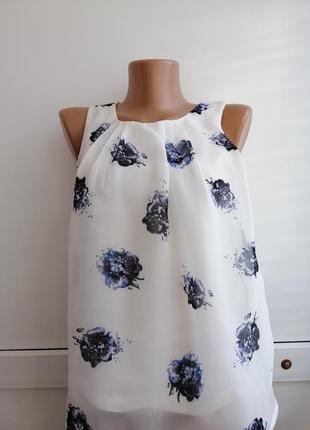 Блуза белая синяя цветочный принт