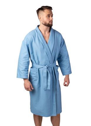 Вафельный халат luxyart кимоно 100% хлопок синий