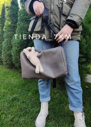 Спортивная вместительная сумка b6027 серо-коричневая на текстильном ремешке