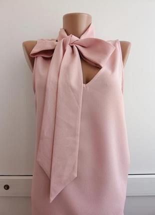 Блуза розовая с бантиком