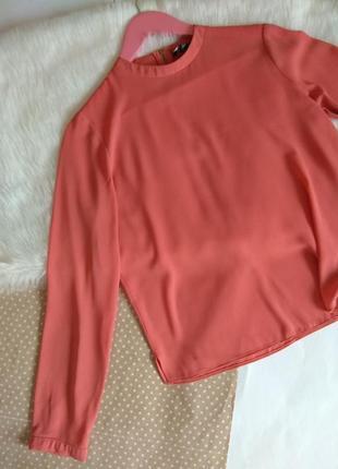 Нежная персиковая блуза до длинного рукава с змейкой / базовая блузка