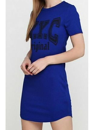 Платье футболка синего цвета