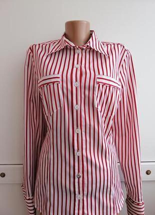Рубашка красная белая в полосочку