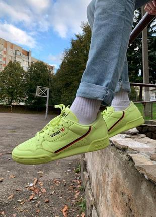 Салатові шкіряні кросівки adidas continental 80 салатовые кожаные кроссовки