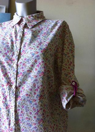 Нежная рубашка в милые цветочки хлопок 10-12-14