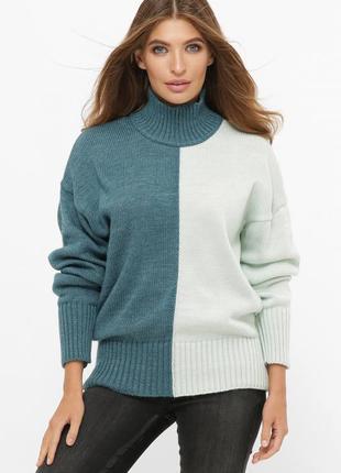 Длинный двухцветный свитер с высоким воротником 212 aquamarine