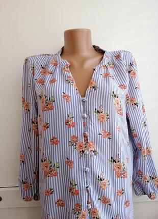 Рубашка голубая в полосочку цветочный принт
